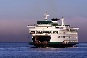 a Puget Sound car ferry, between Seattle and Bainbridge Island