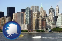 alaska map icon and a New York City ferry and water taxi on the Hudson River