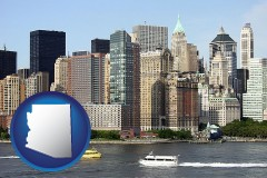 arizona map icon and a New York City ferry and water taxi on the Hudson River