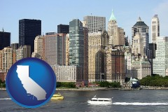 california map icon and a New York City ferry and water taxi on the Hudson River