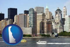 delaware map icon and a New York City ferry and water taxi on the Hudson River