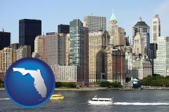 florida map icon and a New York City ferry and water taxi on the Hudson River