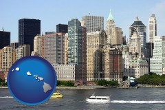 hawaii map icon and a New York City ferry and water taxi on the Hudson River