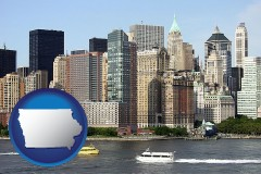 iowa map icon and a New York City ferry and water taxi on the Hudson River