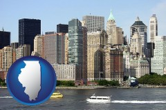 illinois map icon and a New York City ferry and water taxi on the Hudson River