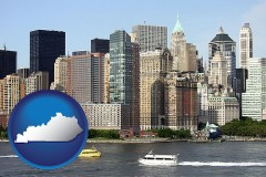 kentucky map icon and a New York City ferry and water taxi on the Hudson River