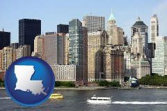 louisiana map icon and a New York City ferry and water taxi on the Hudson River