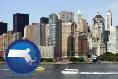 massachusetts map icon and a New York City ferry and water taxi on the Hudson River