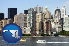 maryland map icon and a New York City ferry and water taxi on the Hudson River