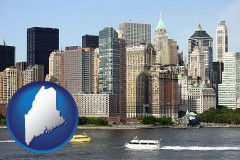 maine map icon and a New York City ferry and water taxi on the Hudson River