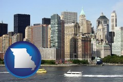missouri map icon and a New York City ferry and water taxi on the Hudson River