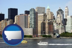 montana map icon and a New York City ferry and water taxi on the Hudson River