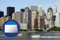 north-dakota map icon and a New York City ferry and water taxi on the Hudson River