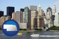 nebraska map icon and a New York City ferry and water taxi on the Hudson River