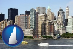 new-hampshire map icon and a New York City ferry and water taxi on the Hudson River
