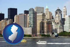 new-jersey map icon and a New York City ferry and water taxi on the Hudson River