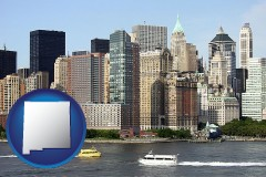 new-mexico map icon and a New York City ferry and water taxi on the Hudson River