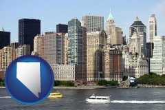 nevada map icon and a New York City ferry and water taxi on the Hudson River