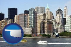 oklahoma map icon and a New York City ferry and water taxi on the Hudson River