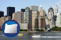 oregon map icon and a New York City ferry and water taxi on the Hudson River