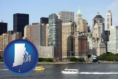 rhode-island map icon and a New York City ferry and water taxi on the Hudson River