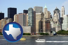 texas map icon and a New York City ferry and water taxi on the Hudson River