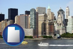 utah map icon and a New York City ferry and water taxi on the Hudson River