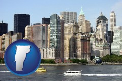 vermont map icon and a New York City ferry and water taxi on the Hudson River