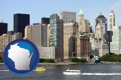 wisconsin map icon and a New York City ferry and water taxi on the Hudson River