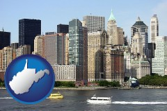 west-virginia map icon and a New York City ferry and water taxi on the Hudson River