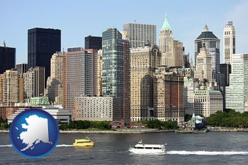 a New York City ferry and water taxi on the Hudson River - with Alaska icon