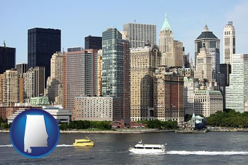 a New York City ferry and water taxi on the Hudson River - with Alabama icon