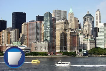 a New York City ferry and water taxi on the Hudson River - with Arkansas icon