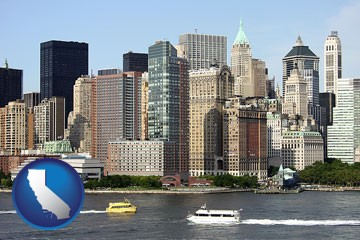 a New York City ferry and water taxi on the Hudson River - with California icon