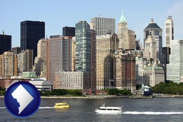 a New York City ferry and water taxi on the Hudson River - with Washington, DC icon