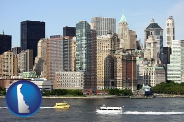 a New York City ferry and water taxi on the Hudson River - with Delaware icon