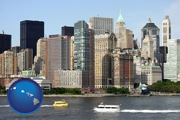 a New York City ferry and water taxi on the Hudson River - with Hawaii icon