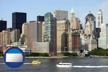 a New York City ferry and water taxi on the Hudson River - with Kansas icon