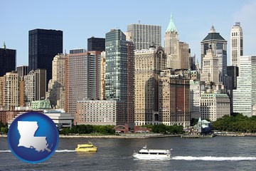 a New York City ferry and water taxi on the Hudson River - with Louisiana icon