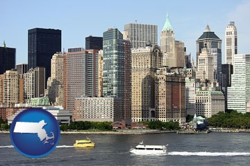a New York City ferry and water taxi on the Hudson River - with Massachusetts icon