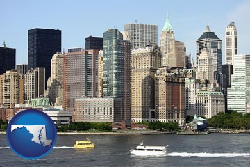 a New York City ferry and water taxi on the Hudson River - with Maryland icon
