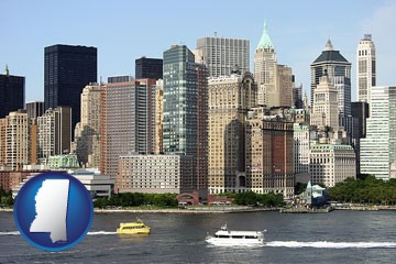 a New York City ferry and water taxi on the Hudson River - with Mississippi icon