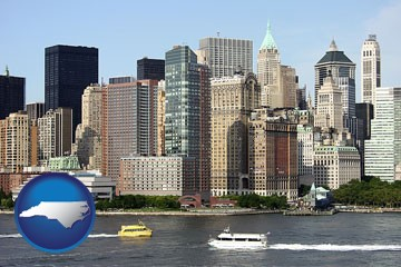 a New York City ferry and water taxi on the Hudson River - with North Carolina icon