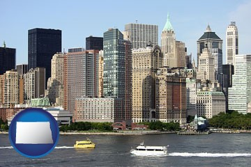 a New York City ferry and water taxi on the Hudson River - with North Dakota icon