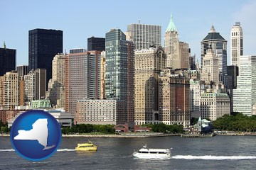 a New York City ferry and water taxi on the Hudson River - with New York icon