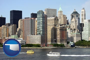 a New York City ferry and water taxi on the Hudson River - with Oklahoma icon