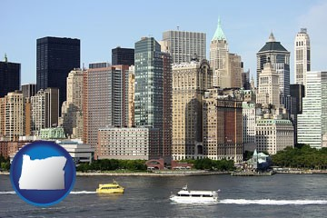 a New York City ferry and water taxi on the Hudson River - with Oregon icon