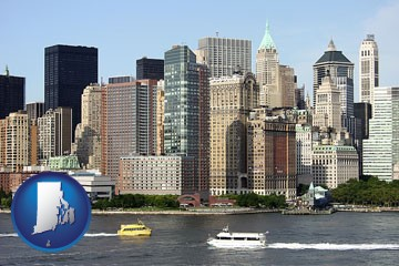 a New York City ferry and water taxi on the Hudson River - with Rhode Island icon