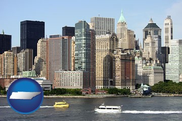 a New York City ferry and water taxi on the Hudson River - with Tennessee icon