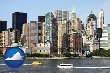 a New York City ferry and water taxi on the Hudson River - with Virginia icon